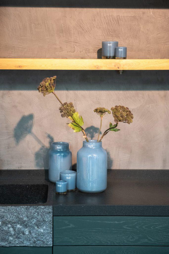 Nova vase und kerzhalter in die Farbe jeans